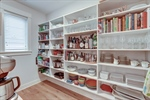 Walk-in pantry with appliance storage.
