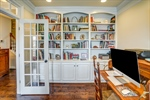 Built in shelving in home office.