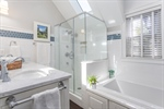 Double sinks-tub-tiled shower and heated floor