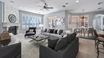 Family room staged with contemporary furniture. Lo