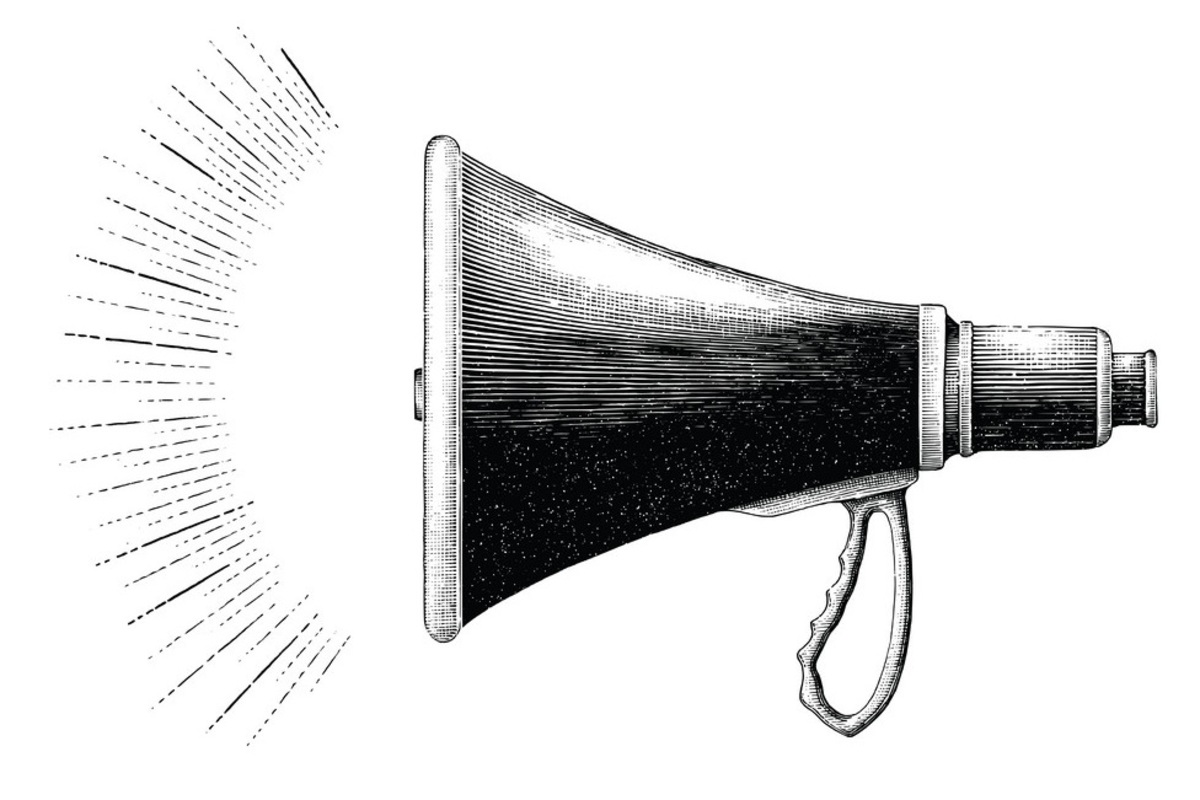Vintage megaphone hand drawing engraving style vector 23244082