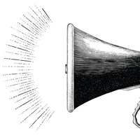 Sq vintage megaphone hand drawing engraving style vector 23244082