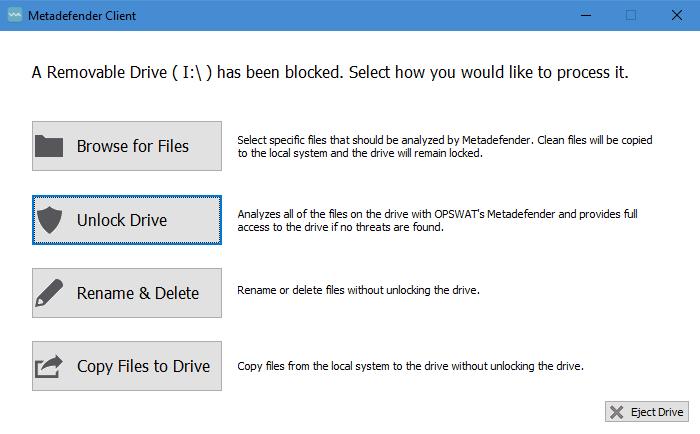 Metadefender USB Client Screenshot