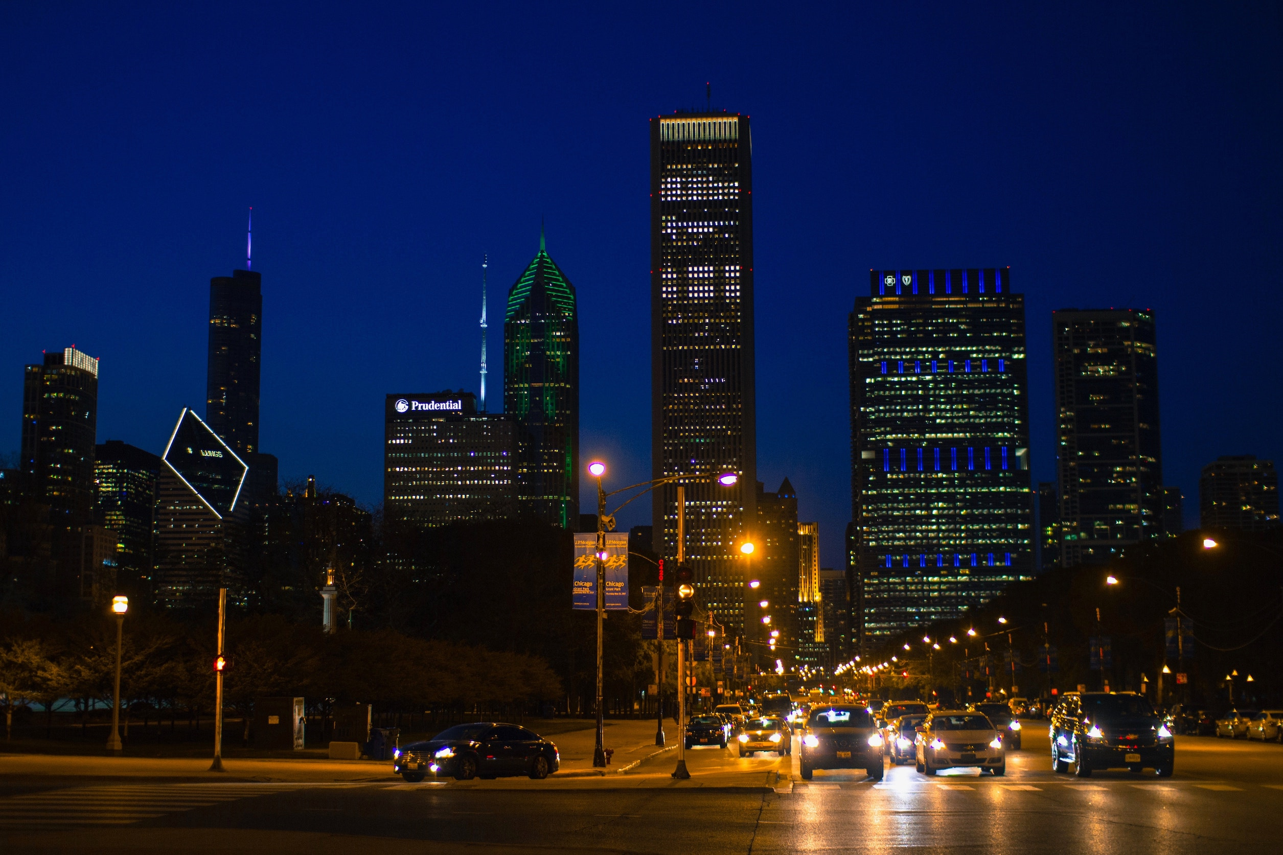 Cars waiting at light at night in Chicago