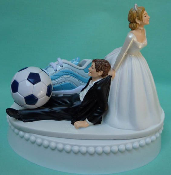 Soccer Player Wedding Cake Topper