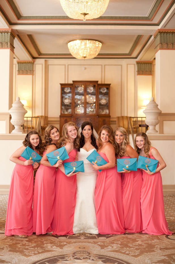 Turquoise And Coral Wedding At The Francis Marion Hotel