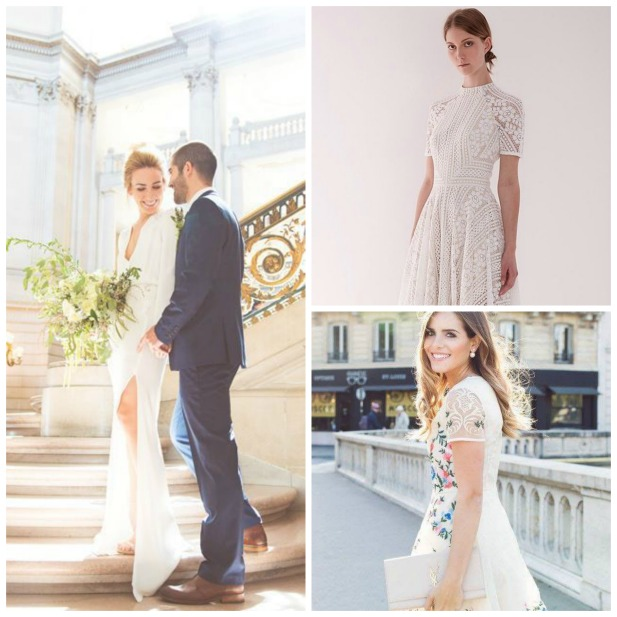 1431a820107 Left Photo by Anna-Alexia Photo via Refinery29 Top Right Image via World of  Bridal Bottom Right Image via Gal Meets Glam