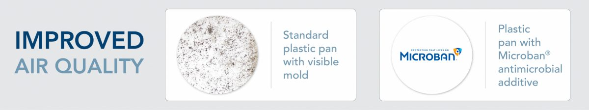 Advanced Distributor Products treated vs untreated drain pan with Microban antimicrobial protection
