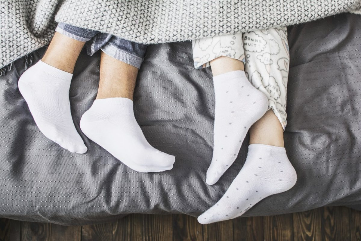 Socks on a bed