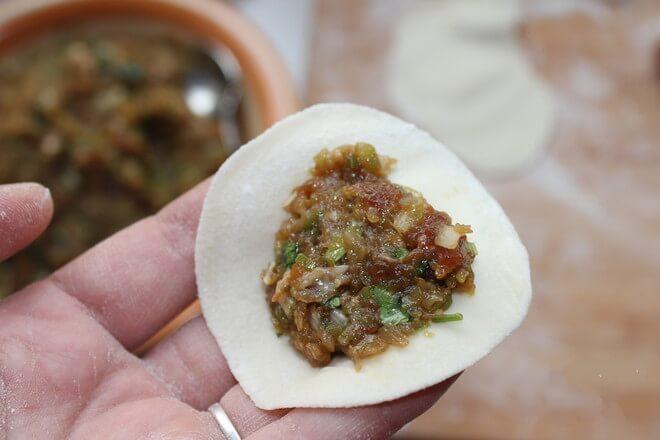 Take a dumpling wrapper