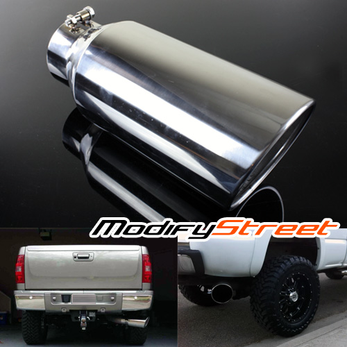"4/"" Inlet 6/"" Outlet 15 inch Long Black Diesel Stainless Steel Bolt On Exhaust Tip"