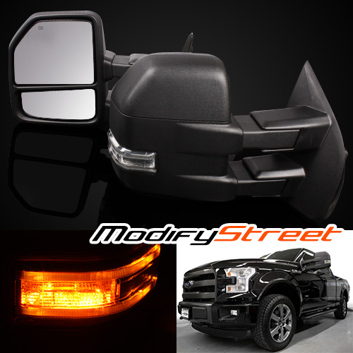 FOR 2015-2016 FORD F150 POWER/HEATED LED SIGNAL 8 PIN BLACK TOWING SIDE MIRRORS