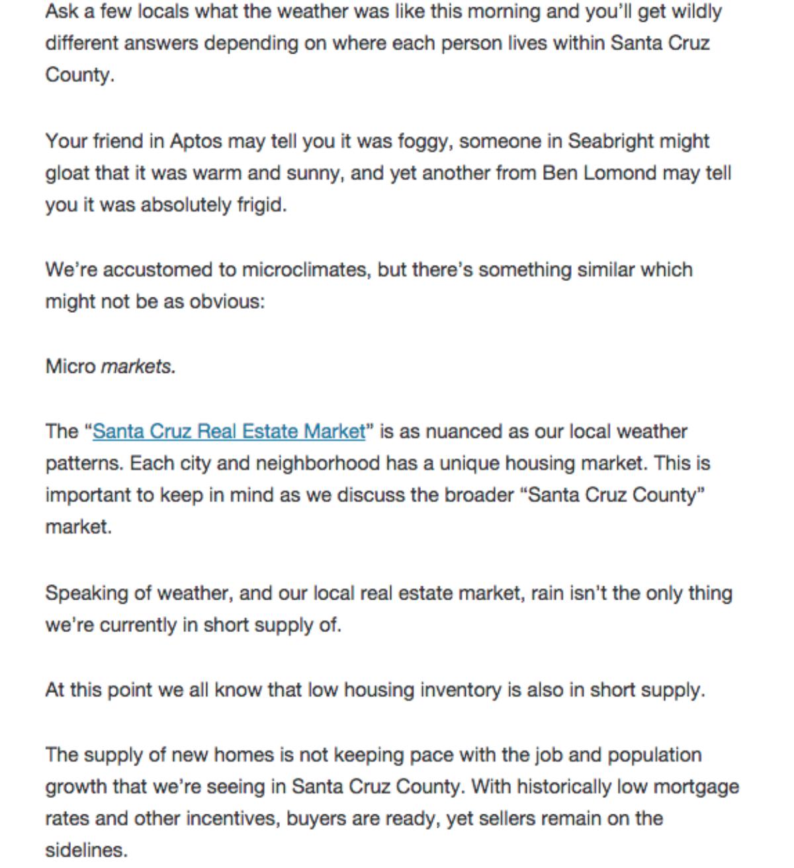 April 2015 Market Report published in Santa Cruz Life.