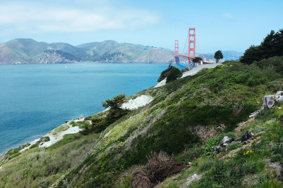 The Golden Gate Bridge comes into view.