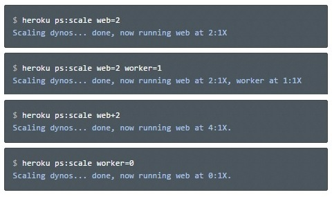 heroku ps: scale web=2, scaling dynos,