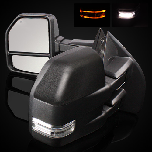 Power Heated Smoke LED Signal Towing Side Mirror For 08-16 Ford F550 Super Duty