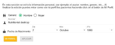 personal info fields