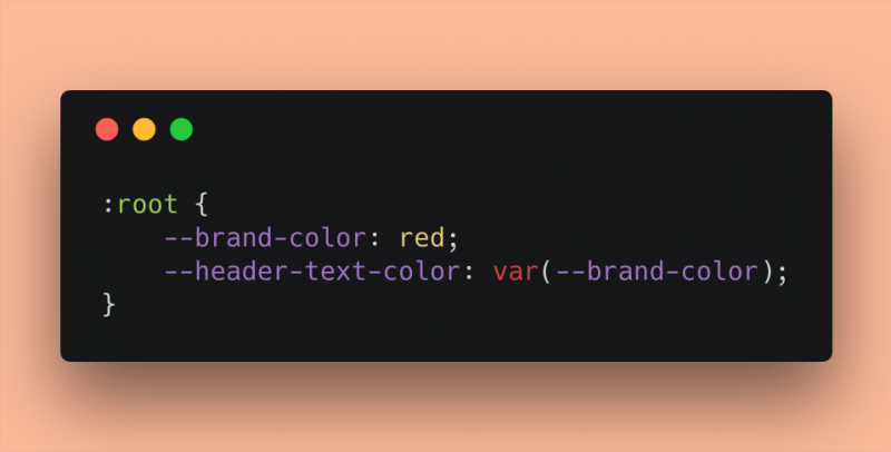 A snippet of CSS code showing variables