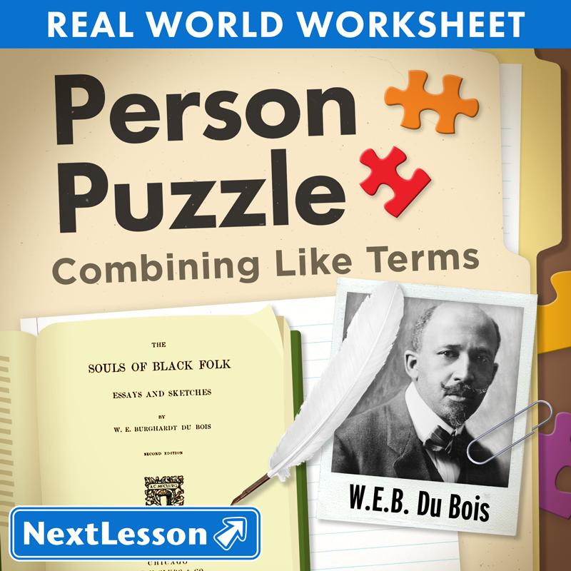 Person Puzzle Combining Like Terms WEB Du Bois Worksheet – Math Worksheets Combining Like Terms