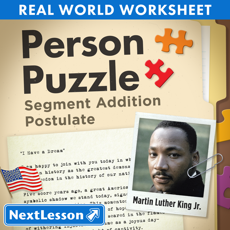 math worksheet : person puzzle  segment addition postulate  martin luther king  : Segment Addition Postulate Worksheets