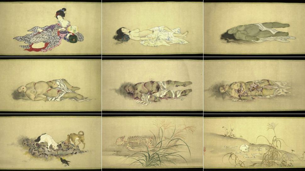 屍體腐爛9階段 日本古畫《九相圖》