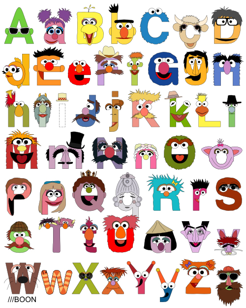Kitchen Poster Food As Alphabet With Food Name: 卡通人物變成英文字母了!Mike BaBoon卡通字母設計
