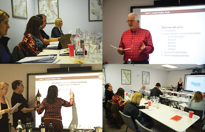 Top left, clockwise: students at our inaugrual IWP course, Jürg Oggenfuss giving lessons on proper pronunciation of those r-rolling Italian words, alternative view of classroom, Catherine Bugue quizzing students on Italian wine labels.
