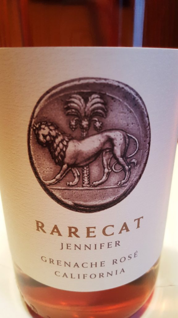 "The RARECAT 2015 ""Jennifer"" Rosé of Grenache."