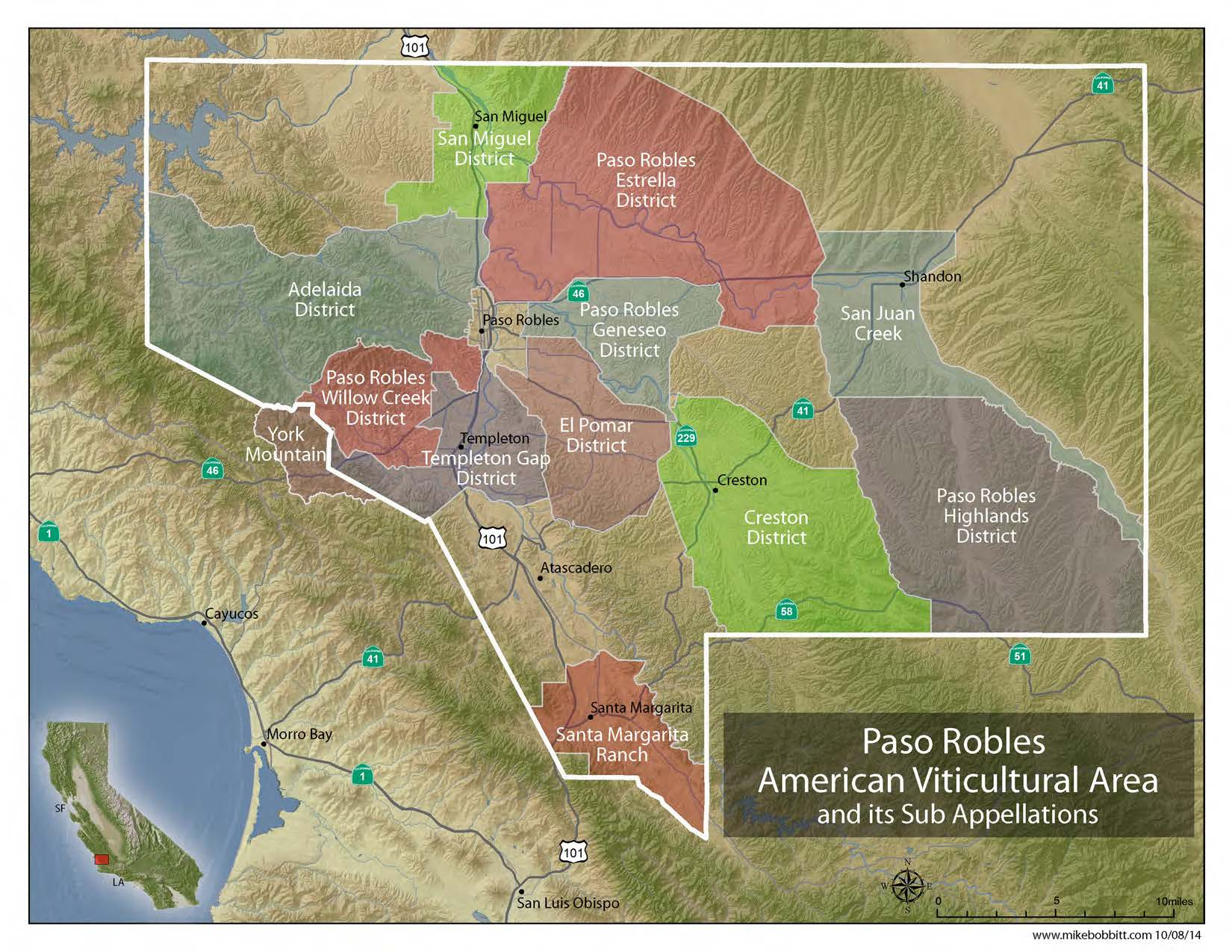 Paso Robles Viticultural Area Map