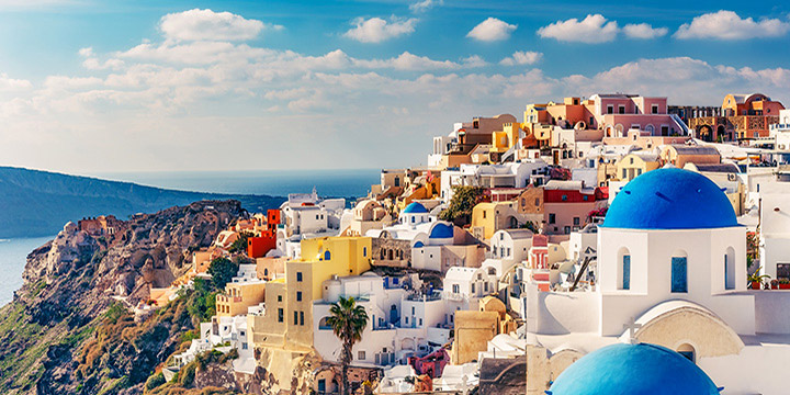 Oia Townscape Blue Domes