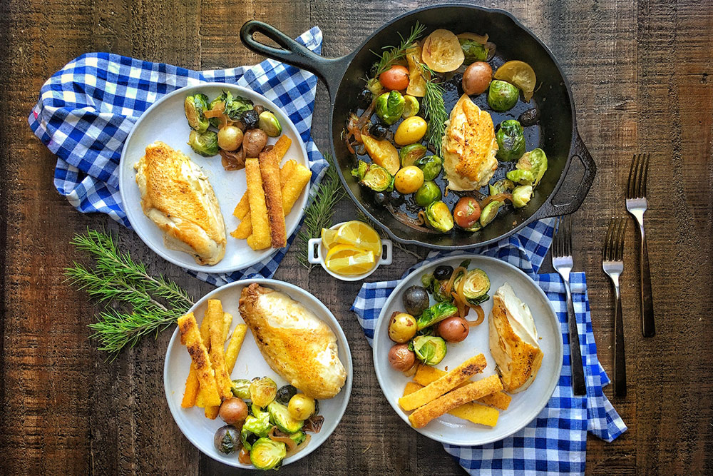 Herb Roasted Chicken with Brussel Sprouts and Polenta Fries