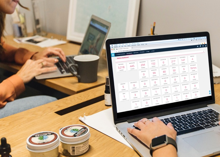 Looking at partner stats on computer
