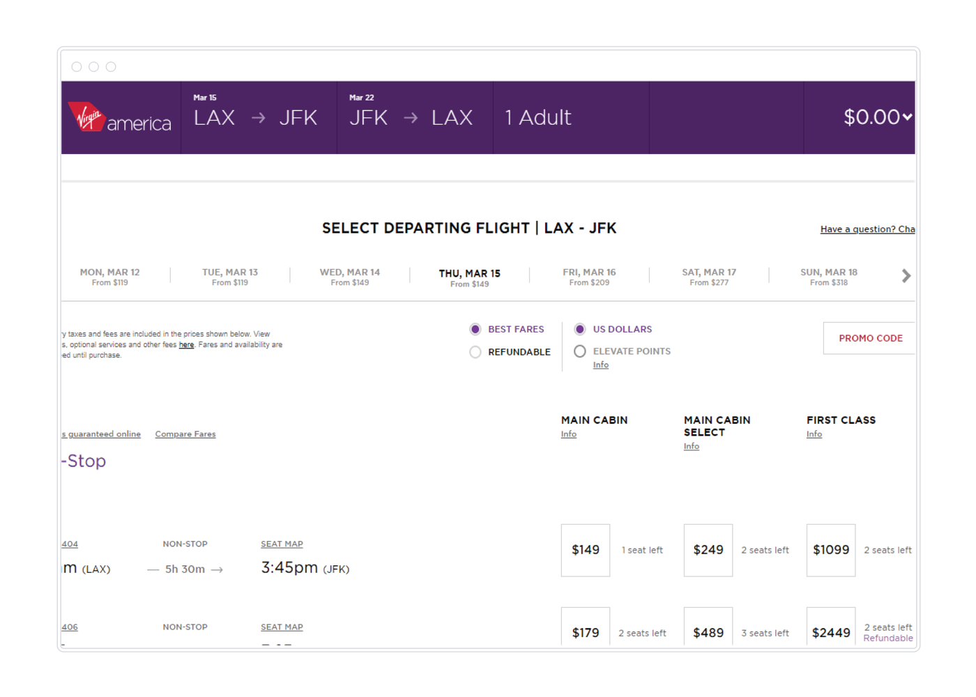 Example Virgin America flight options.