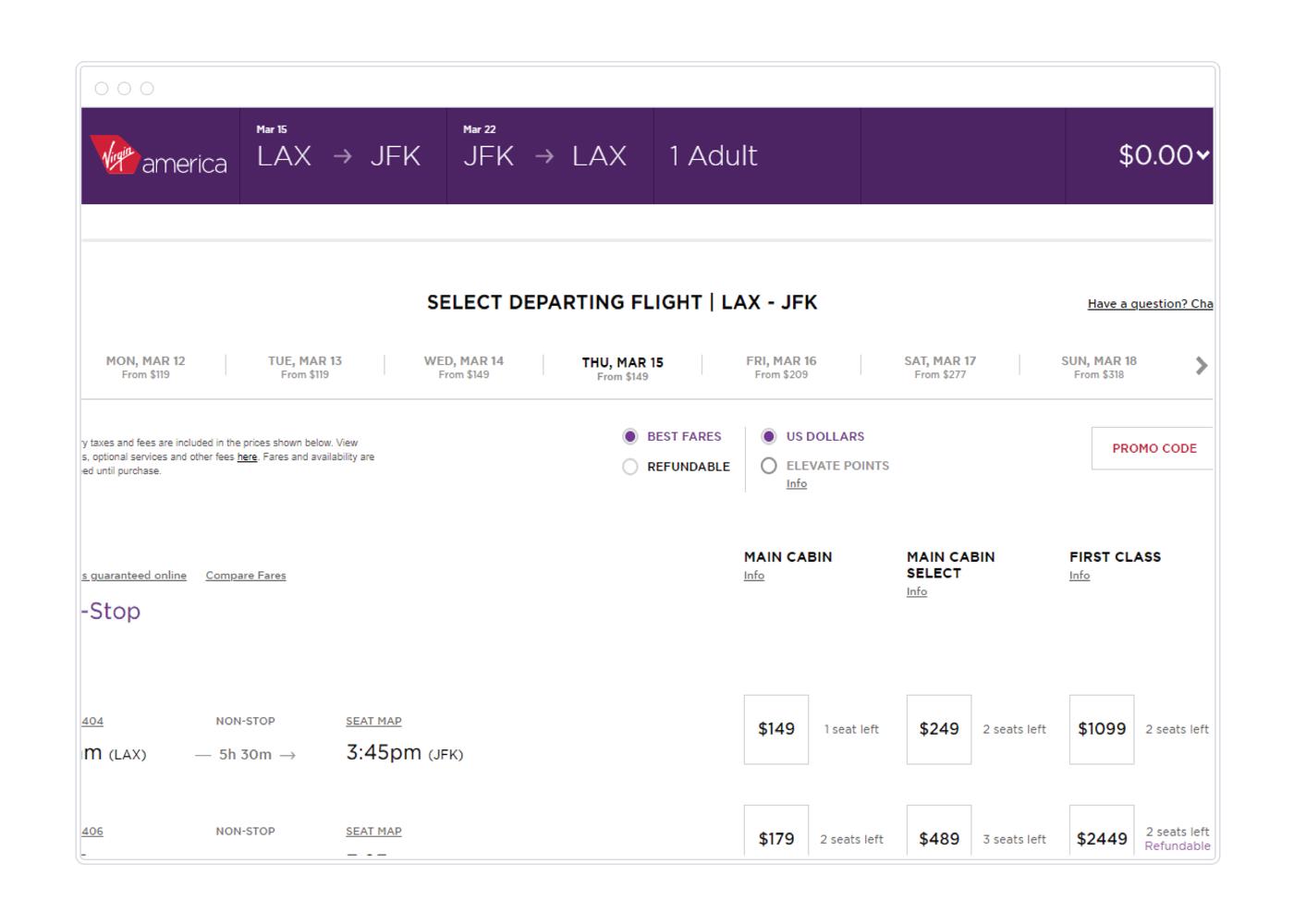 Example Virgin America flight options.