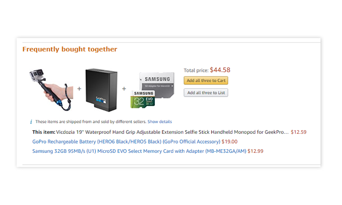 Upsells example Amazon's frequently bought together