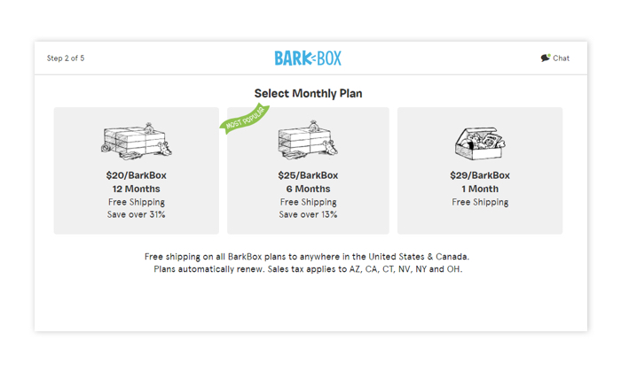 Example subscription pricing