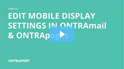 Edit the mobile display settings in ONTRApages
