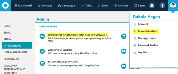 Access the API Keys in ONTRAPORT in Administratrion - Integrations