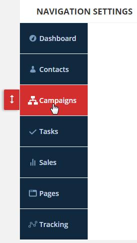 click and drag to reorder navigation menu
