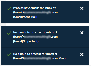IMAP confirmation messages will appear after you click Save