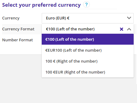 choose currency format