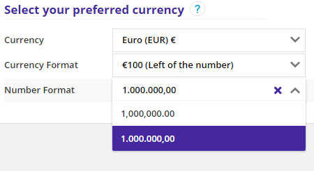 currency number format