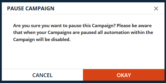 Campaign pause warning dialog
