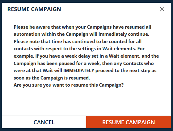 Resume Campaign pop up warning