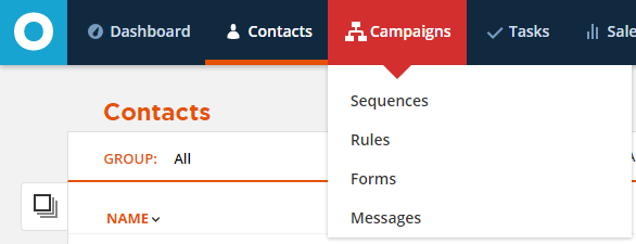 Sequences, Rules, Forms, and Messages are now linked in the Campaigns menu
