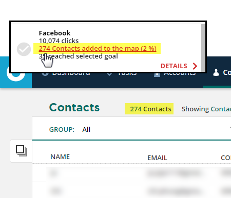 display an ad hoc group of contacts by clicking the link