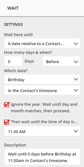 A Wait configured for 11:30 AM on the Contact's birthday