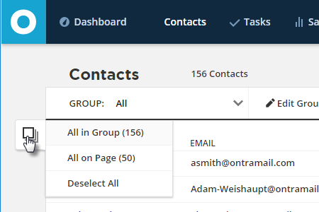 Contact Actions select all in Group