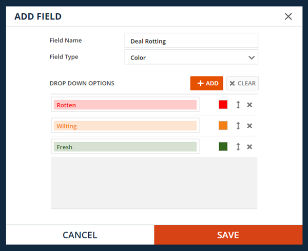 Use the color field to set up visual notification that the deals are starting to get rotten