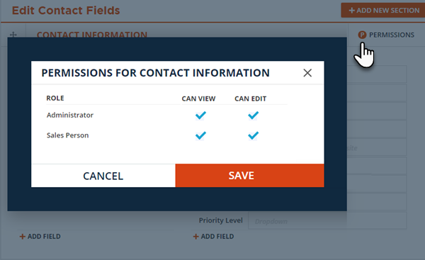 Contact Record section permissions